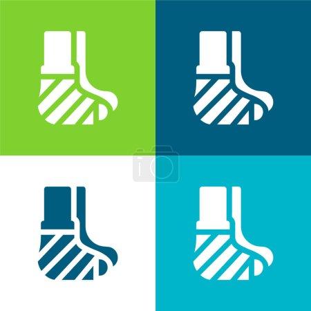 Illustration pour Bandage Flat quatre couleurs minimum jeu d'icônes - image libre de droit