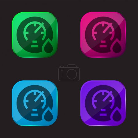 Illustration for Barometer four color glass button icon - Royalty Free Image