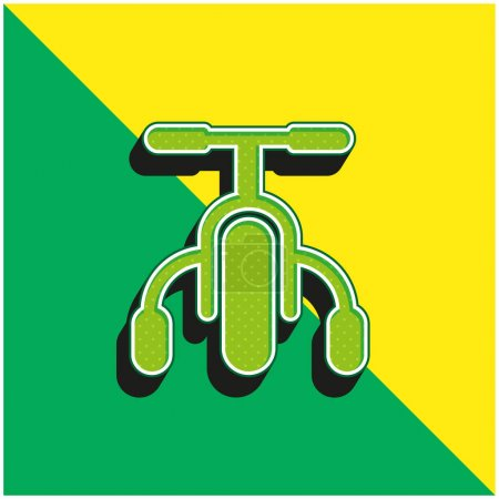 Bicycle Green and yellow modern 3d vector icon logo