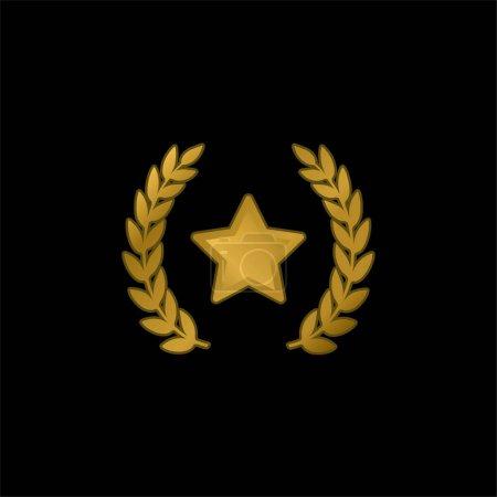 Illustration pour Symbole de récompense icône métallique plaqué or ou vecteur de logo - image libre de droit
