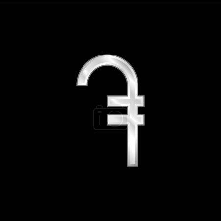 Illustration pour Armanian Dram icône métallique argentée - image libre de droit