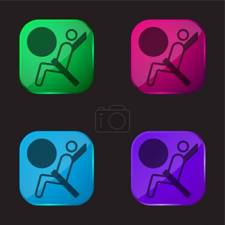 Illustration pour Airbag icône bouton en verre quatre couleurs - image libre de droit