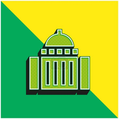 Art Museum Green and yellow modern 3d vector icon logo