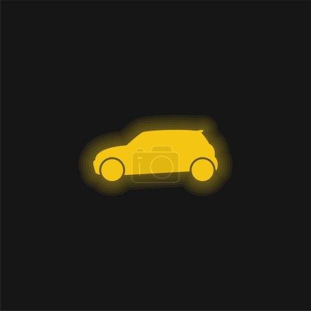 Illustration pour Voiture Noire Vue de côté jaune brillant icône néon - image libre de droit