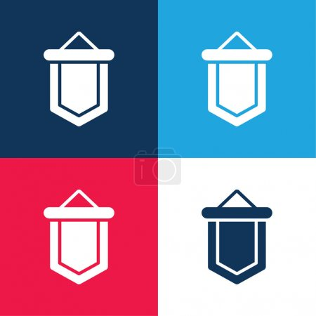 Banner blue and red four color minimal icon set