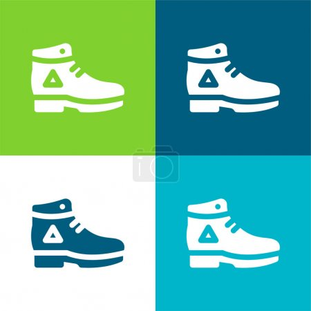 Boot Flat four color minimal icon set
