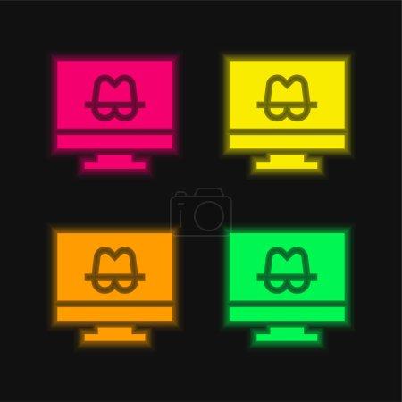 Illustration pour Anonymat quatre couleurs rougeoyantes icône vectorielle néon - image libre de droit