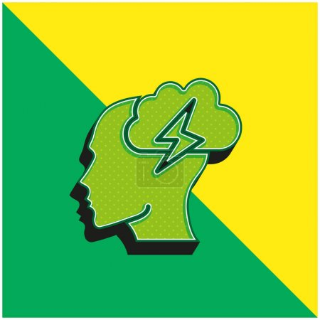 Brainstorm Green and yellow modern 3d vector icon logo
