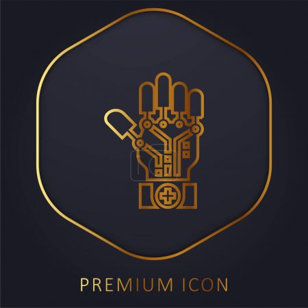 Photo for Artificial Intelligence golden line premium logo or icon - Royalty Free Image