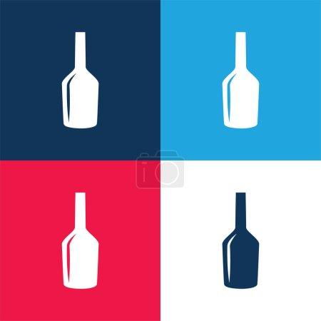Illustration pour Bouteille de vin noir Forme de verre bleu et rouge quatre couleurs ensemble d'icône minimale - image libre de droit