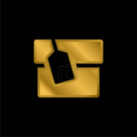 Box With Tag gold plated metalic icon or logo vector