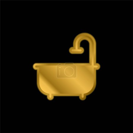 Illustration for Bathtub gold plated metalic icon or logo vector - Royalty Free Image