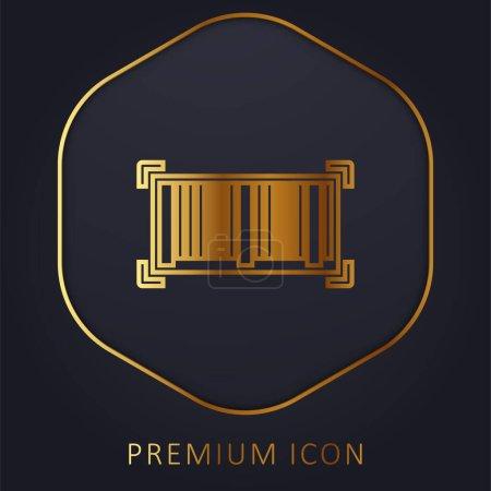 Illustration pour Code à barres ligne dorée logo premium ou icône - image libre de droit