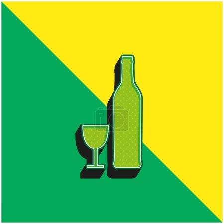 Illustration pour Formes de bouteille et de verre Logo vectoriel 3d moderne vert et jaune - image libre de droit