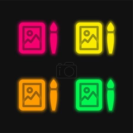 Illustration pour Art quatre couleurs brillant icône vectorielle néon - image libre de droit