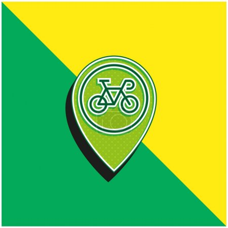 Illustration for Bicycle Green and yellow modern 3d vector icon logo - Royalty Free Image