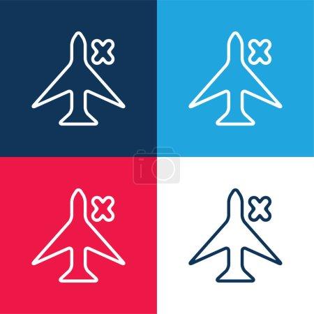 Illustration pour Plaque d'avion avec une croix pour téléphone Interface bleu et rouge quatre couleurs minimum icône ensemble - image libre de droit