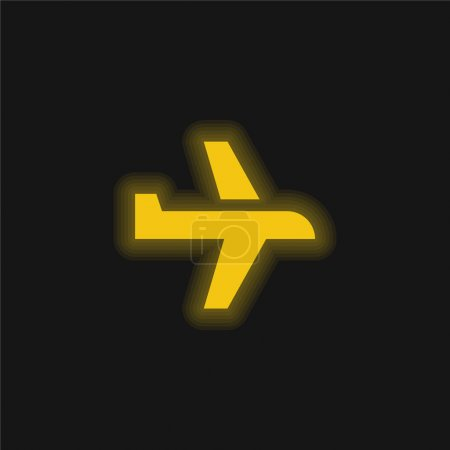 Illustration for Airplane yellow glowing neon icon - Royalty Free Image