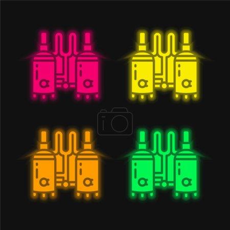 Photo pour Brassage quatre couleurs brillant icône vectorielle néon - image libre de droit