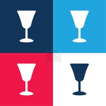 Illustration pour Grand Gobelet bleu et rouge quatre couleurs minimum jeu d'icônes - image libre de droit