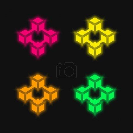 Blockchain four color glowing neon vector icon