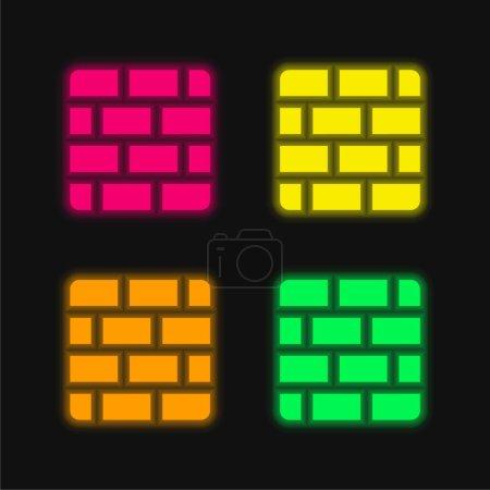 Illustration pour Briques quatre couleurs brillant icône vectorielle néon - image libre de droit