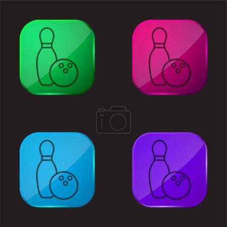 Illustration pour Bowling Bowl et Ball Outline icône de bouton en verre de quatre couleurs - image libre de droit