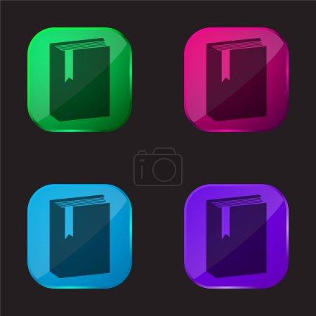 Photo pour Livre avec marqueur icône bouton en verre quatre couleurs - image libre de droit