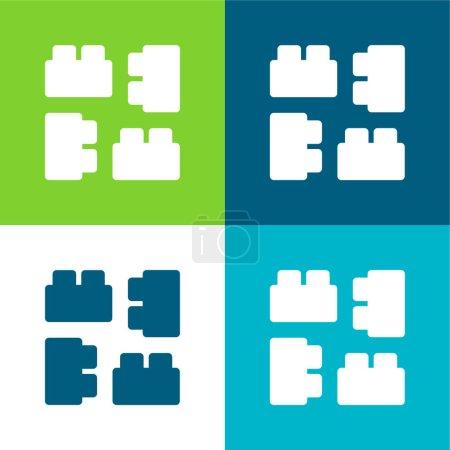 Photo pour Blocs Ensemble d'icônes minimal plat quatre couleurs - image libre de droit