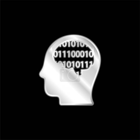 Binary Thinking silver plated metallic icon