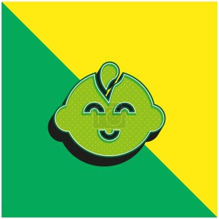 Photo pour Bébé Garçon Vert et jaune icône vectorielle 3d moderne logo - image libre de droit