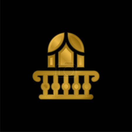 Balcony gold plated metalic icon or logo vector