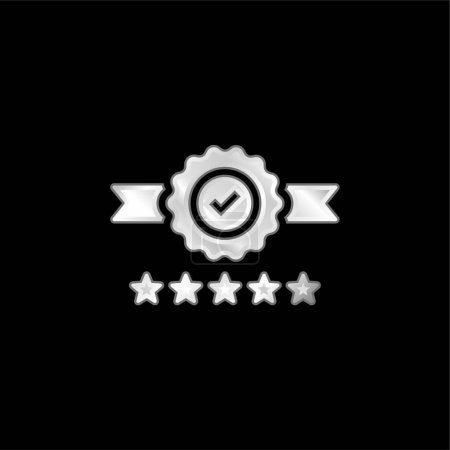 Illustration for Badge silver plated metallic icon - Royalty Free Image