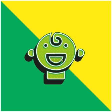 Illustration pour Bébé Vert et jaune moderne icône vectorielle 3d logo - image libre de droit