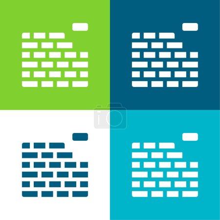 Illustration for Brickwall Flat four color minimal icon set - Royalty Free Image