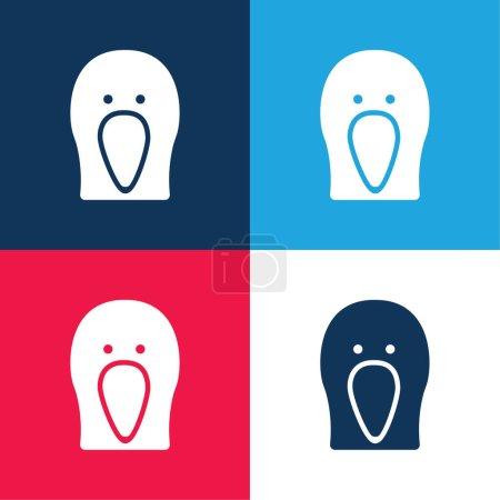 Illustration pour Bird Black Head Ensemble d'icônes minime bleu et rouge à quatre couleurs - image libre de droit