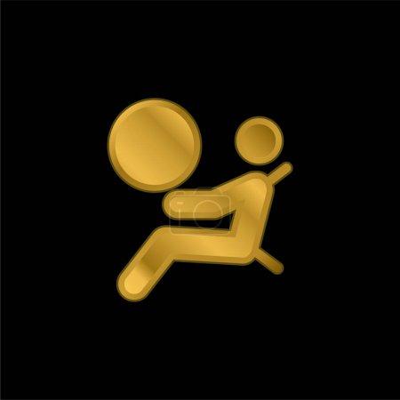 Illustration pour Airbag plaqué or icône métallique ou logo vecteur - image libre de droit