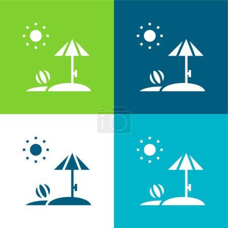 Beach Flat cztery kolory minimalny zestaw ikon