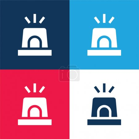 Illustration for Alarm blue and red four color minimal icon set - Royalty Free Image