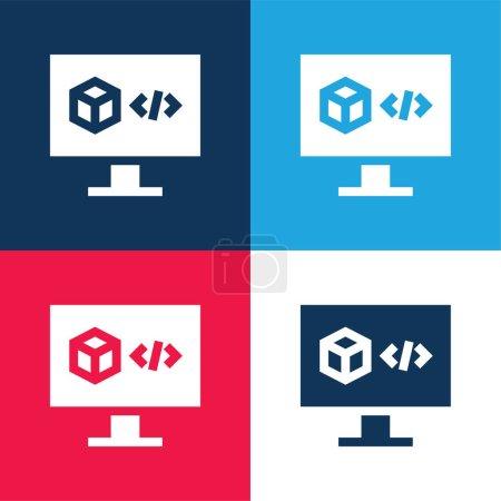 Illustration pour Logiciel d'impression 3D bleu et rouge quatre couleurs minimum jeu d'icônes - image libre de droit