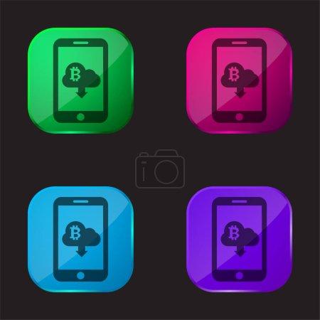 Illustration pour Bitcoin Connectez-vous Cloud Avec Flèche vers le bas Télécharger Symbole sur l'écran du téléphone portable icône de bouton en verre quatre couleurs - image libre de droit