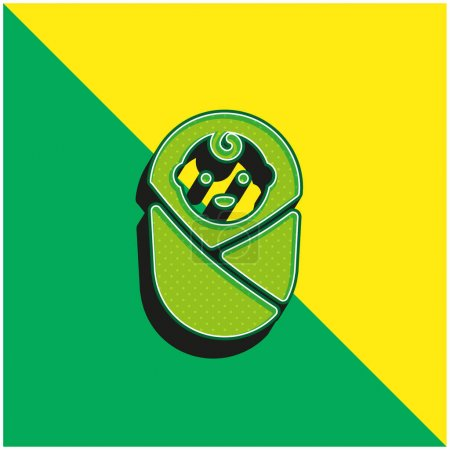 Illustration for Baby Green and yellow modern 3d vector icon logo - Royalty Free Image