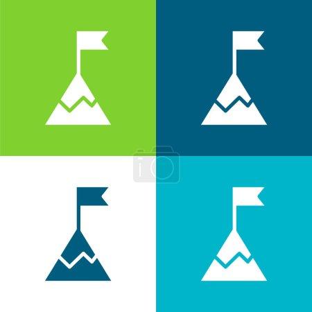 Illustration for Achievement Flat four color minimal icon set - Royalty Free Image