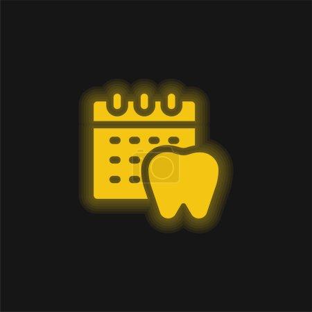 Illustration pour Rendez-vous jaune flamboyant icône néon - image libre de droit