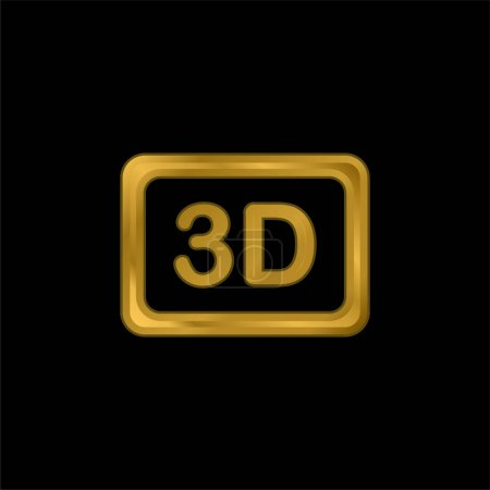 3d Movie gold plated metalic icon or logo vector