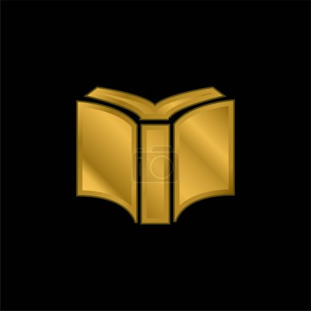 Photo for Book Of Black Cover Opened Back View gold plated metalic icon or logo vector - Royalty Free Image