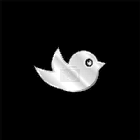 Illustration pour Black Bird icône métallique argentée - image libre de droit