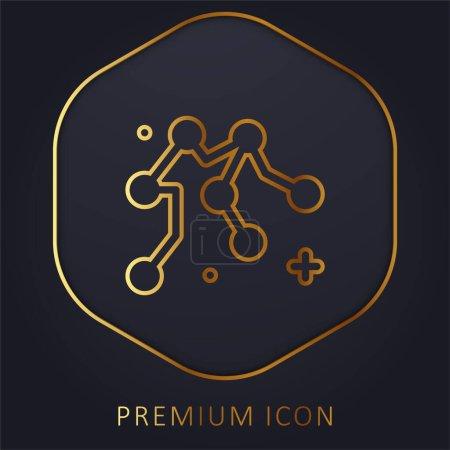 Złota linia wodna logo premium lub ikona