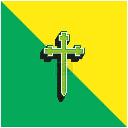 Photo pour Aaronic Order Church Logo vectoriel 3D moderne vert et jaune - image libre de droit