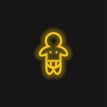 Illustration pour Couche de port de bébé contour seulement jaune brillant icône néon - image libre de droit